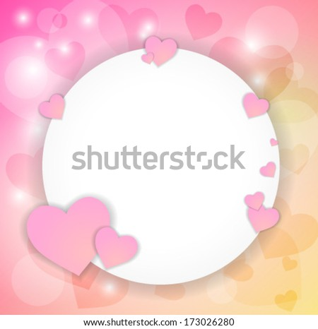 Valentine's card with hearts and place for the text.