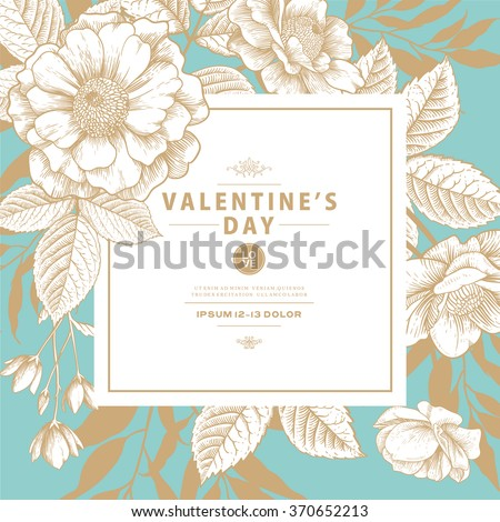 Valentine's Card with Vintage Victorian Graphic Floral Composition. Blank for Greeting Postcard, Wedding Invitation or Any Design.
