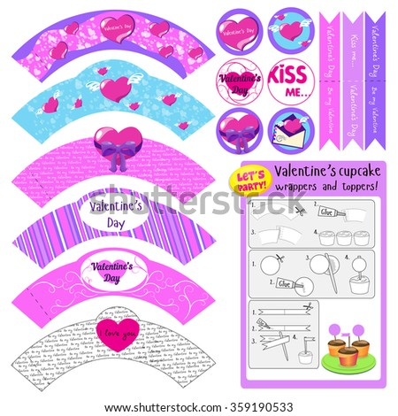 valentine's cupcake wrappers and toppers