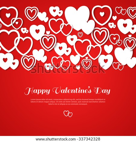 Valentine's day abstract background with cut paper hearts. Vector illustration. Red background with white hearts. Place for you text message. Greeting card design template - stock vector