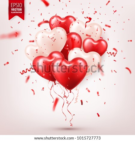 Valentine's day abstract background with red 3d balloons and confetti. Heart shape. February 14, love. Romantic wedding greeting card.Women's, Mother's day.