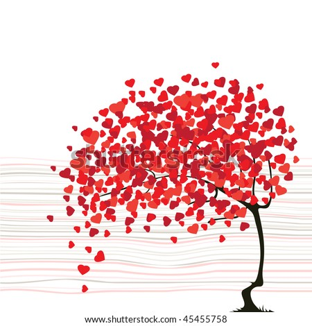 Valentine's day abstract with dandelion - stock vector