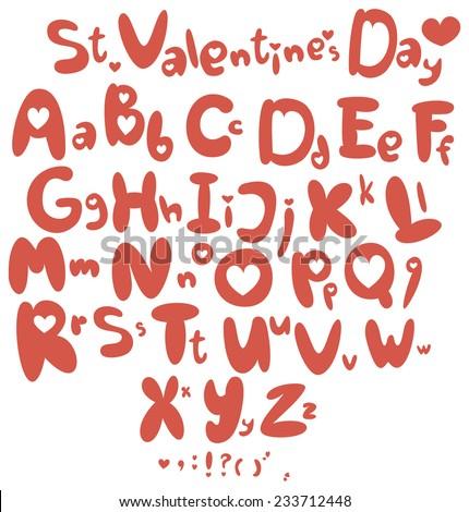 Valentine's Day alphabet. ABC Love. Saint Valentine's Day Font. - stock vector