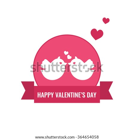 Valentine's Day and Wedding card with cute couple of birds and hearts. Love concept. Flat design vector illustration.