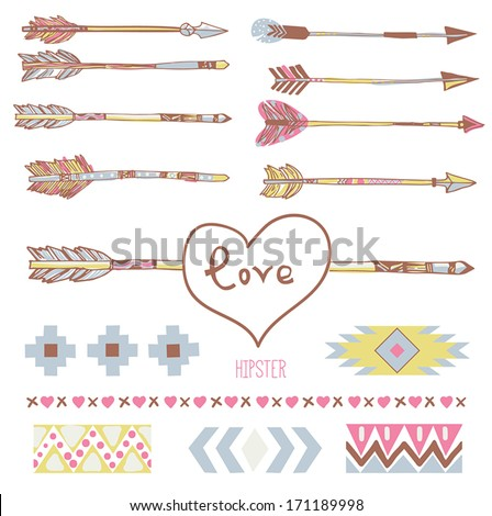 Valentine's Day and Wedding hipster graphic set: hand drawn arrows and tribal ornamental elements for vector brush. - stock vector