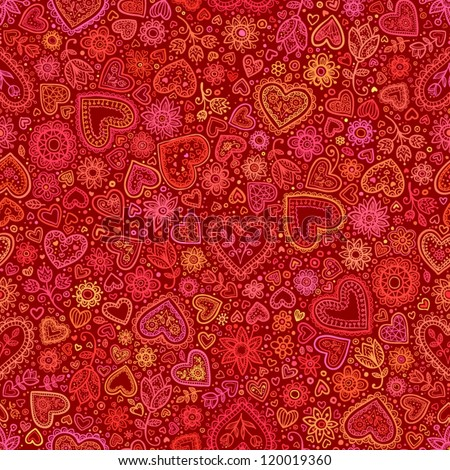 Valentine's day artistic hand drawn red hearts background, vector seamless pattern - stock vector