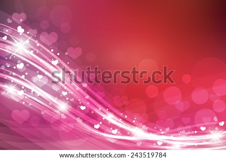 Valentine's day background in red colors with hearts. - stock vector