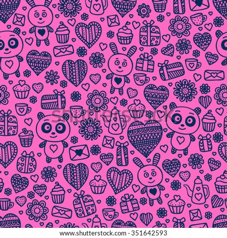 Valentine's day background. Seamless pattern with doodle love, heart, flower, letter, panda, rabbit, teapot, cup, cakes.