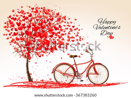 Valentine's day background with a bike and a tree made out of hearts. Vector. - stock vector