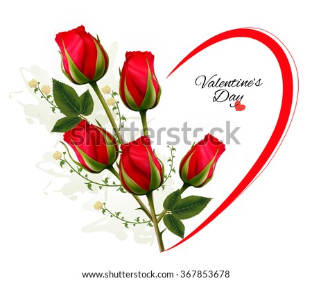 Valentine's Day background with a bouquet of red roses. Vector. - stock vector