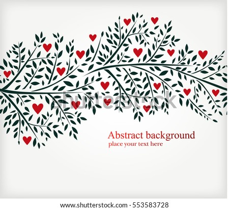 Valentine's day background with a tree branches and hearts. Vector illustration