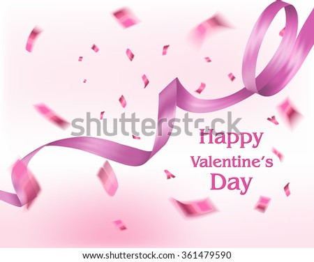 valentine's day background with  flying confetti and pink ribbon - stock vector