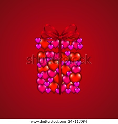 Valentine's day background with hearts, ribbon, bow, gift for greeting card, invitation, congratulation. Vector illustration EPS10.  - stock vector