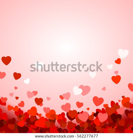 Valentineu0027s Day Background With Hearts. Vector Illustration