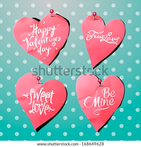 Valentine's Day background with paper heart shaped, vector illustration.
