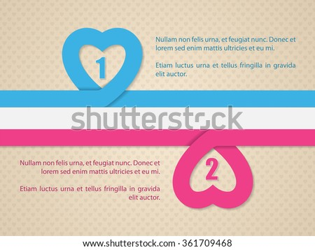 Valentine's day background with pink and blue heart ribbon and straight flag - stock vector