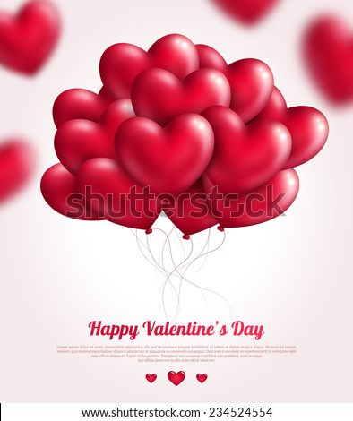Valentine's day background with red flying bunch of hearts balloons. Vector illustration. Festive background for Mothers day or Womans Day. - stock vector