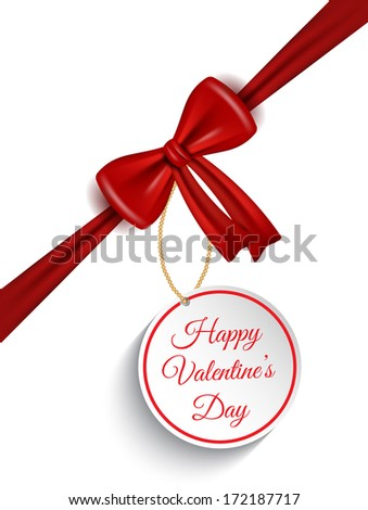 Valentine's Day background with red gift bow and label