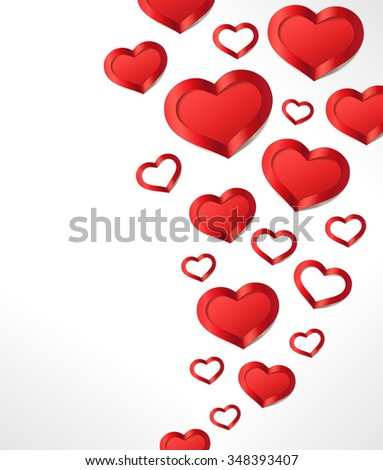 Valentine's Day background with red hearts. Vector greeting card.