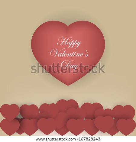 Valentine's day background with red origami paper hearts. Vector illustration