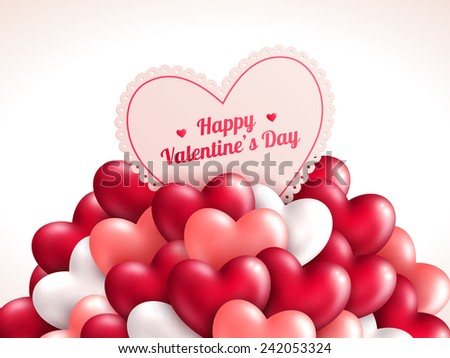 Valentine's day background with shining hearts. Vector illustration. Place for your text message. Romantic Lovely Design for Mothers Day. - stock vector