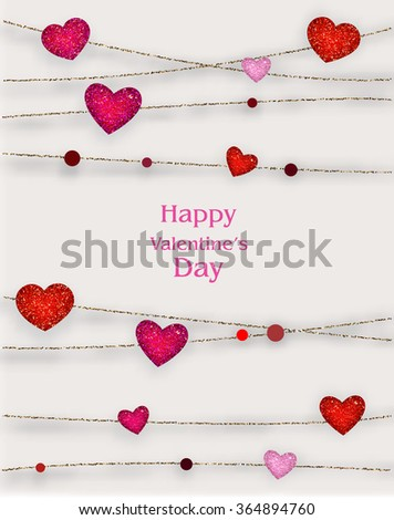 Valentine's Day background with textured hearts with gold strings - stock vector