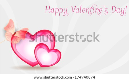 Valentine's Day background with two heart-shaped frames with butterfly