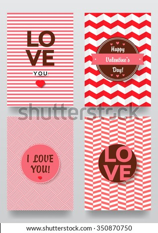 Valentine`s day backgrounds set. Vector illustration. Happy valentines day cards with ornaments, hearts. - stock vector