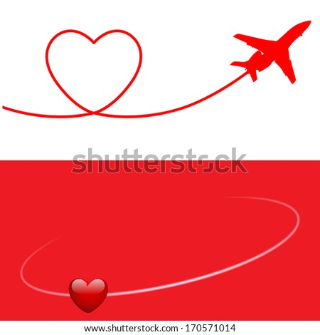 Valentine's Day Banner Plane and Heart. Vector. Illustration. - stock vector