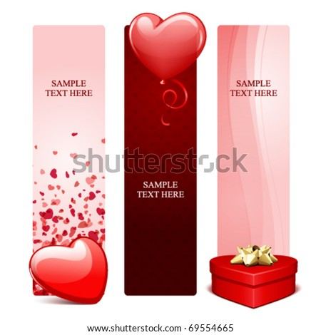 Valentine's day banners or backgrounds set 20 - stock vector