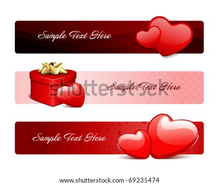 Valentine's day banners or headers set 1 - stock vector