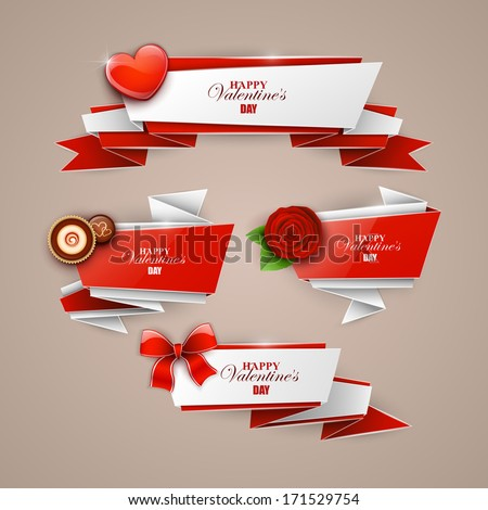 Valentine`s day  banners set  - stock vector