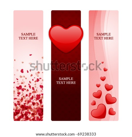 Valentine's day banners set 14 - stock vector