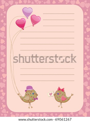 Valentine's day birds sharing presents notepad - stock vector