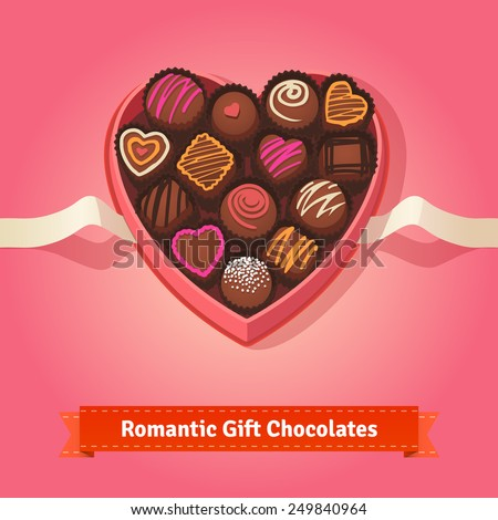 Valentine's day, birthday chocolates in heart shaped box on red background.  Flat style illustration or icon. EPS 10 vector. - stock vector