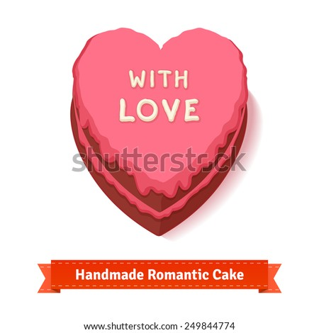 Valentine's day, birthday romantic heart shaped cake with pink glazing. Handmade with big love. Flat style illustration or icon. EPS 10 vector. - stock vector