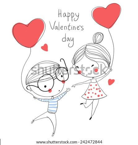 Valentine's Day. Boy and girl. Love cards. - stock vector