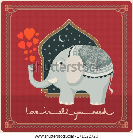 Valentine's day card A greeting card concept with a cute elephant is the key of this image. Looking for Arabian Nights mood, love is all you need...  - stock vector