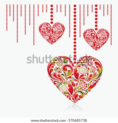 Valentine's Day card. Beautiful red hearts on a white background. - stock vector