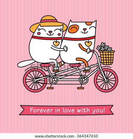 Valentine's Day card. Cartoon vector characters on a pink background. Cute white cats have got a date.