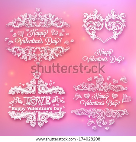 Valentine's day card concept. Vector vintage baroque engraving floral scroll filigree design.