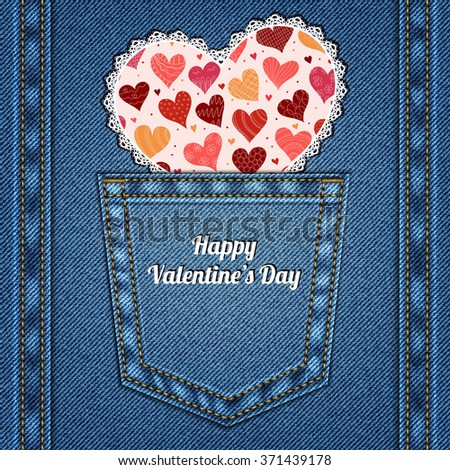 Valentine's Day card. Denim background with jeans pocket and heart. - stock vector