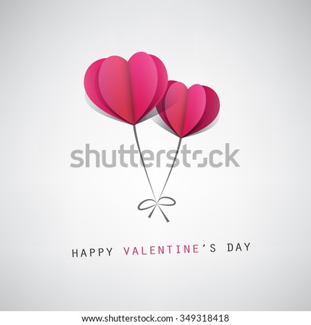 Valentine's Day Card Design Template With Heart Shape Balloons - stock vector
