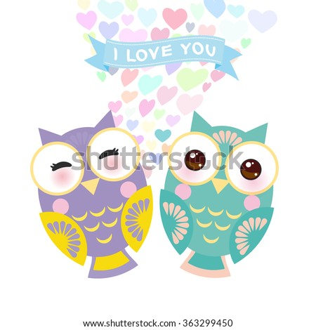 Valentine's Day Card design with Kawaii owl with pink cheeks and winking eyes, pastel colors on white background. Vector - stock vector