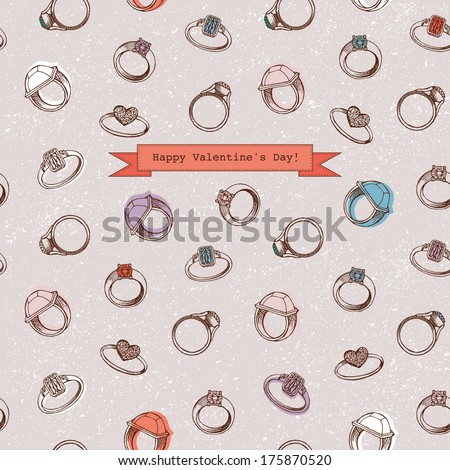 Valentine's Day card design with rings - stock vector
