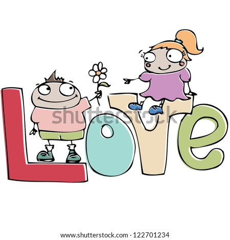 valentine's day card , funny cartoon couple in love - stock vector