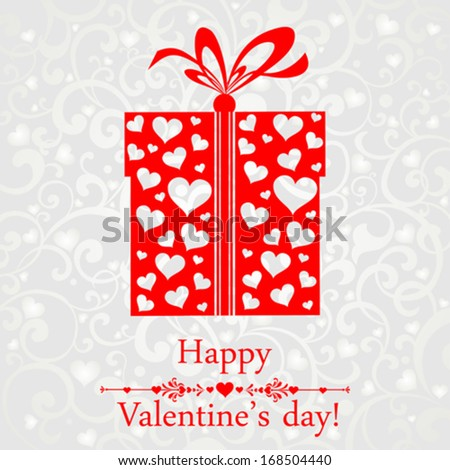 Valentine's Day Card. Gift box with heart and ribbon. Vector illustration