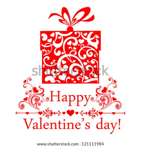 Valentine's Day Card. Gifts box with ribbon. Vector Illustration - stock vector