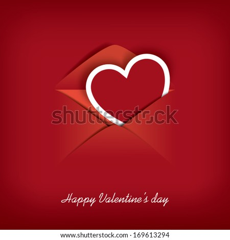 Valentine's day card in an envelope blending into red background suitable for postcards, flyers, messages, etc. Eps10 Vector illustration. - stock vector