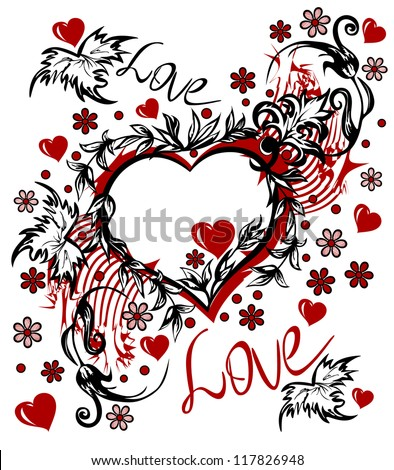 Valentine s Day card in the style of abstract floral pattern, inscription love - stock vector